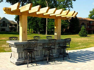 outdoor bar seating area